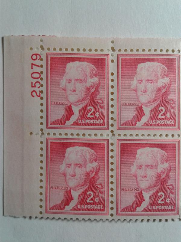 SCOTT # 1033 MINT NEVER HINGED GEM PLATE BLOCK LIBERTY SERIES OF JEFFERSON 1952