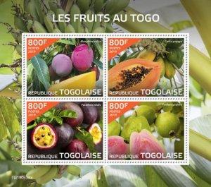 TOGO - 2019 - Fruits in Togo - Perf 4v Sheet  - M N H