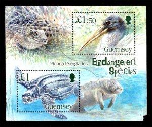 Guernsey 2006 Endangered Species: Turtle, Wood stork S/S £2.50 Scott.892 Used