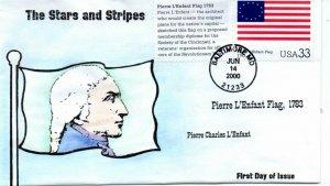 US FDC #3403h Pierre L'Enfant Flag, Anagram H/P, 3/25 (8345)