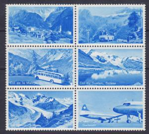 Switzerland, c. 1950 Scenic & Transportation Labels VF