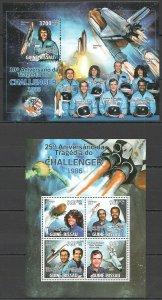 BC611 2011 GUINEA-BISSAU SPACE ANNIVERSARY TRAGEDY CHALLENGER 1986 BL+KB MNH