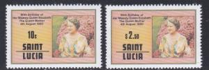 St. Lucia # 501-502, Queen Mothers 80th Birthday, NH, 1/2 Cat.