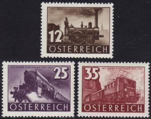 Austria - 1937 - Scott #385-387 - MNH - Train Locomotive Railway