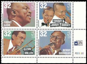PCBstamps   US #3096/3099 PB $1.28(4x32c)Big Band Leaders, 1996, MNH, (4)