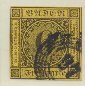 Baden (German State) Stamp Scott #9, Used - Free U.S. Shipping, Free Worldwid...