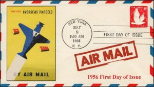 AO-UC25-3, 1956, Air Mail,  Add-on Cover, New York NY, First Day Cover, SC UC25,