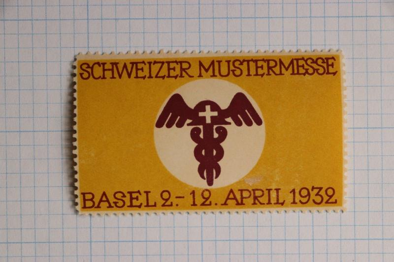 Swiss German Pattern Medical Fair Expo Basel 1932 poster label ad Mint MH OG