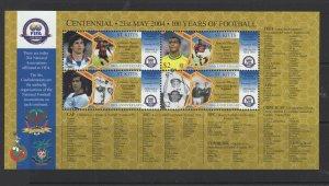 St. Kitts #601 (2004 FIFA soccer sheet of four) VFMNH CV $5.50