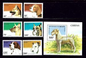 Benin 741-47 MNH 1995 Dogs set with S/S