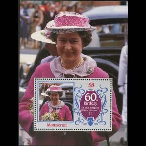 MONTSERRAT 1986 - Scott# 604 S/S Queen Birthday NH