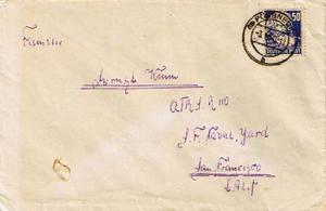 Germany Soviet Zone 50pf Marx 1950 (15) Possneck to San Francisco, Calif.  Sp...