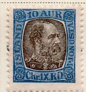 Iceland Sc O16 1902 10 aur  Christian IX official stamp mint