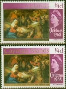 Cayman Islands 1969 1/4d Brt Purple SG221var GOLD Partially Omitted V.F. MNH