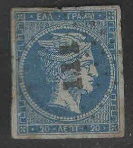 Greece Scott 27 Used blue on bluish 1862 Hermes Head creased