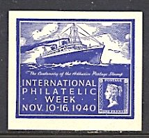 USA Philatelic Cinderella International Phil. Week Penny Black Ocean Liner