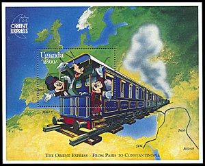 Uganda 1409, MNH, Disney On the Orient Express souvenir sheet