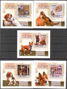 {060} Sao Tome & Principe 2010 Dogs 5 S/S Deluxe MNH**