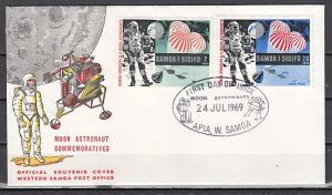 Samoa, Scott cat. 315-316. Astronaut on the Moon issue. First day cover. ^