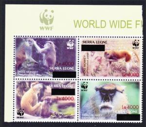 Sierra Leone WWF Patas Monkey with overprint Top Left Block of 4 WWF Logo RARE