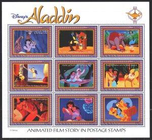 Guyana. 1993. Small sheet 4491-99. Disney, animation, aladdin, fairy tale. MNH.