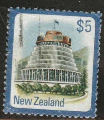 New Zealand Scott 650 used key $5 stamp 1977 corner crease