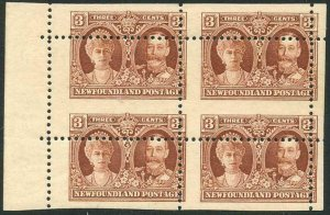 Newfoundland SG166 3c Brown Misperf Block of FOUR Superb M/M (2 x U/M)