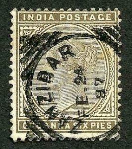 Zanzibar SGZ48 India 1a6p Sepia Squared Circle (type Z4)