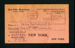 Return Receipt Card from New York, NY to New York, New York dated 4-18-1952