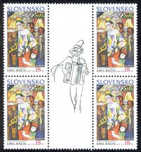 Slovakia Sc# 403 MNH Block/4 + label 2002 Europa