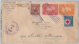 Red Cross -- HONDURAS -  POSTAL HISTORY -  COVER to USA 1942 - CENSOR TAPE