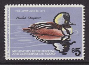US Sc RW45 MLH. 1978 $5 Hooded Merganser Drake