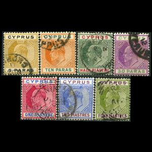 CYPRUS 1904 - Scott# 48-54 King 5pa-4pi Used