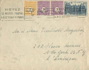 France 10F Luxembourg Palace with 3F (2) and 2F Arc de Triomphe A.M.G. 1946 N...