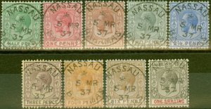 Bahamas 1921-37 set of 9 to 1s SG115-123 V.F.U