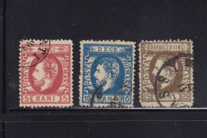 Romania Scott # 50 -52 set VF used neat cancels scv $ 153! see pic !