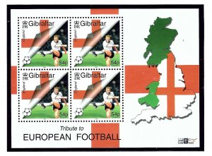 Gibraltar 836a MNH 2000 European Soccer S/S   (KA)
