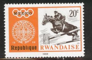 RWANDA Scott 266 MH* Mexico 68 Olympic horse stamp