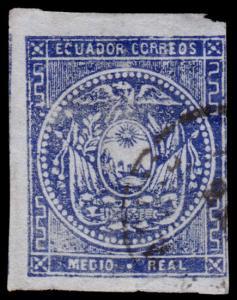 Ecuador Scott 2 (1865) Used H G-F, CV $20.00 B