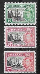 St. Helena # 136-38  George VI - new colors 1949    (3) VLH Unused