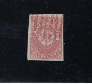 NEWFOUNDLAND # 7 VF-LIGHT USED 6.5d IMPERF SCARLET POSSIBLE FORGERY