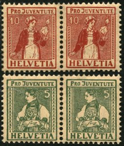 SWITZERLAND #B8 #B9 SEMI POSTAL Stamps Pair Collection EUROPE 1917 Mint NH OG