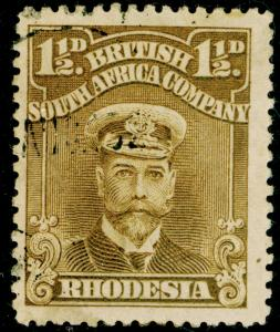 RHODESIA SG197, 1½d brown-ochre, FINE USED. PERF 14.