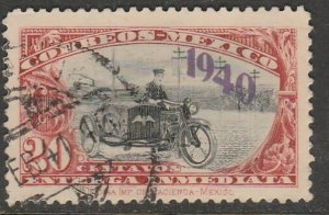 MEXICO E7, 20¢ Motorcycle, OVPTD. 1940 Special Delivery USED. F-VF. (340)