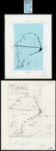 Tuvalu Original Art Work by Ian Oliver for the 30c 1977 Royal Society Expedition
