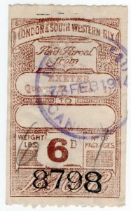 (I.B) London & South Western Railway : Paid Parcel 6d (Exeter)