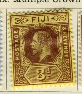 FIJI; 1912 early GV issue fine Mint hinged 3d. value