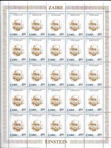 Zaire Full MNH Sheet #956 Albert Einstein