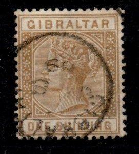 GIBRALTAR SG14 1887 1/= BISTRE USED