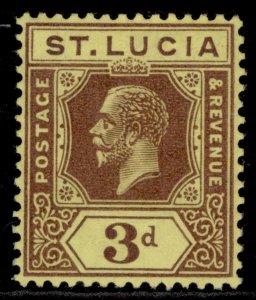 ST. LUCIA GV SG100, 3d purple/pale yellow, M MINT.